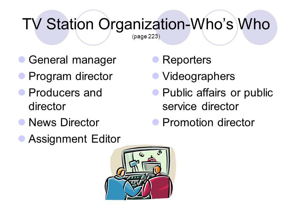 TV Station Organization-Who's Who (page 223)