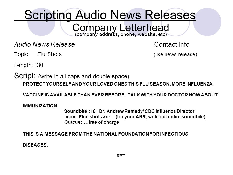 Scripting Audio News Releases