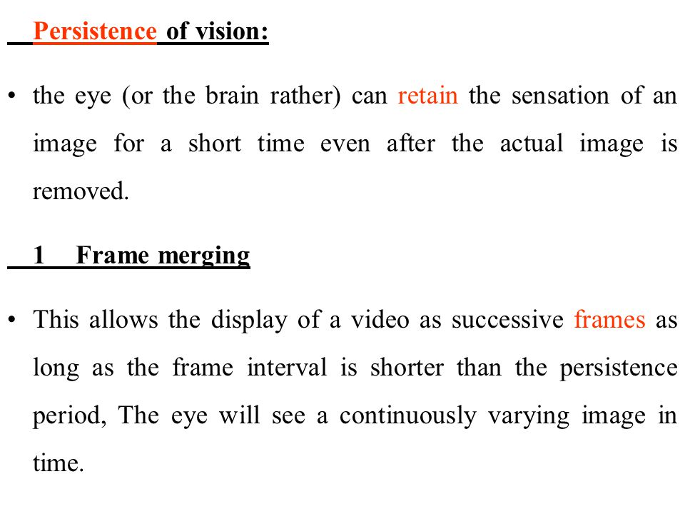 Persistence of vision: