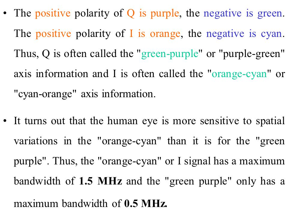 The positive polarity of Q is purple, the negative is green