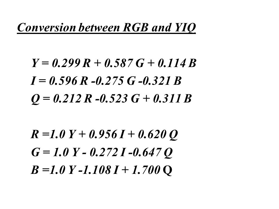 Conversion between RGB and YIQ