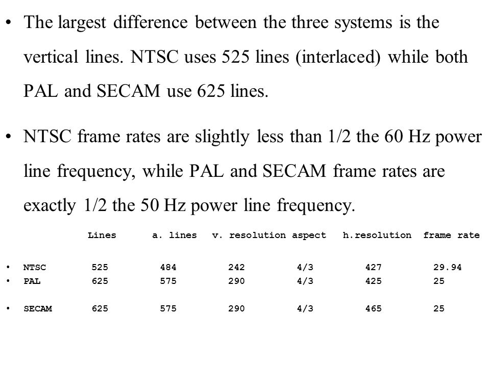 The largest difference between the three systems is the vertical lines