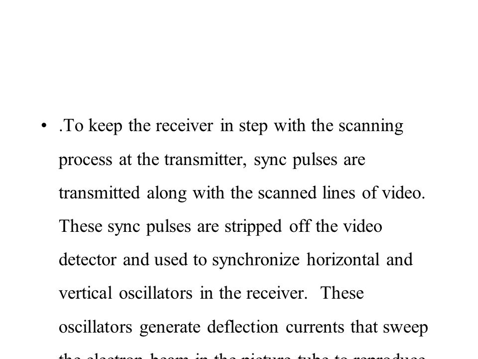 .To keep the receiver in step with the scanning process at the transmitter, sync pulses are transmitted along with the scanned lines of video.
