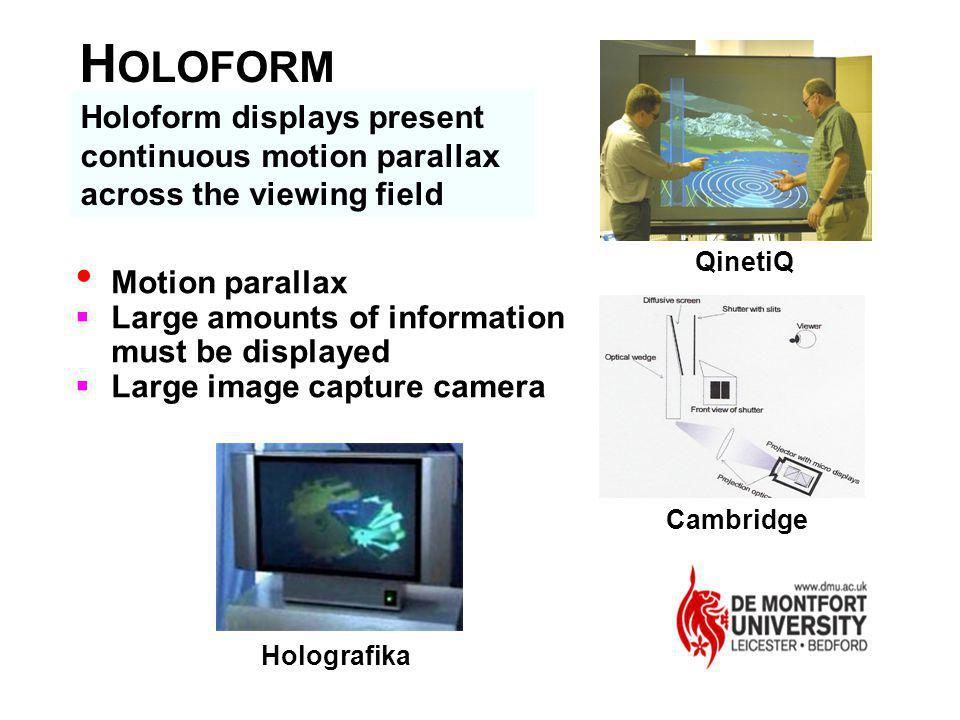 HOLOFORM Holoform displays present continuous motion parallax