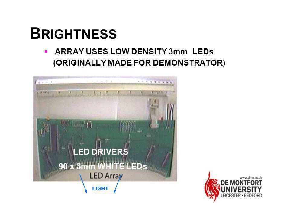 BRIGHTNESS ARRAY USES LOW DENSITY 3mm LEDs