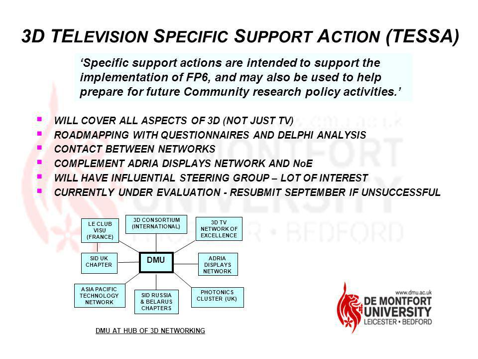 3D TELEVISION SPECIFIC SUPPORT ACTION (TESSA)