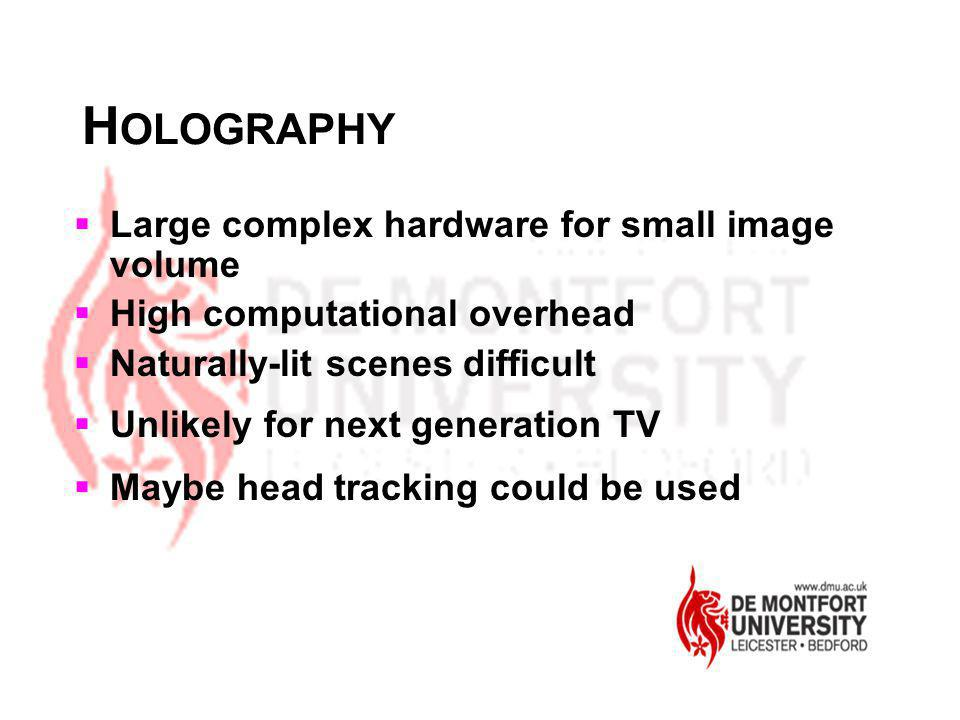 HOLOGRAPHY Large complex hardware for small image volume