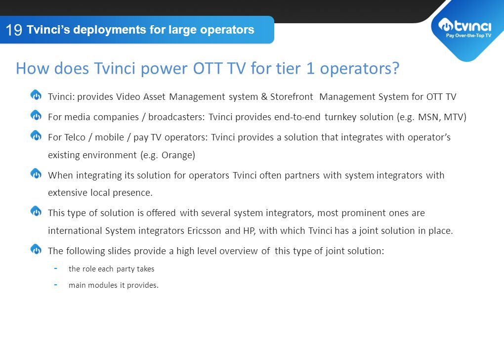 How does Tvinci power OTT TV for tier 1 operators