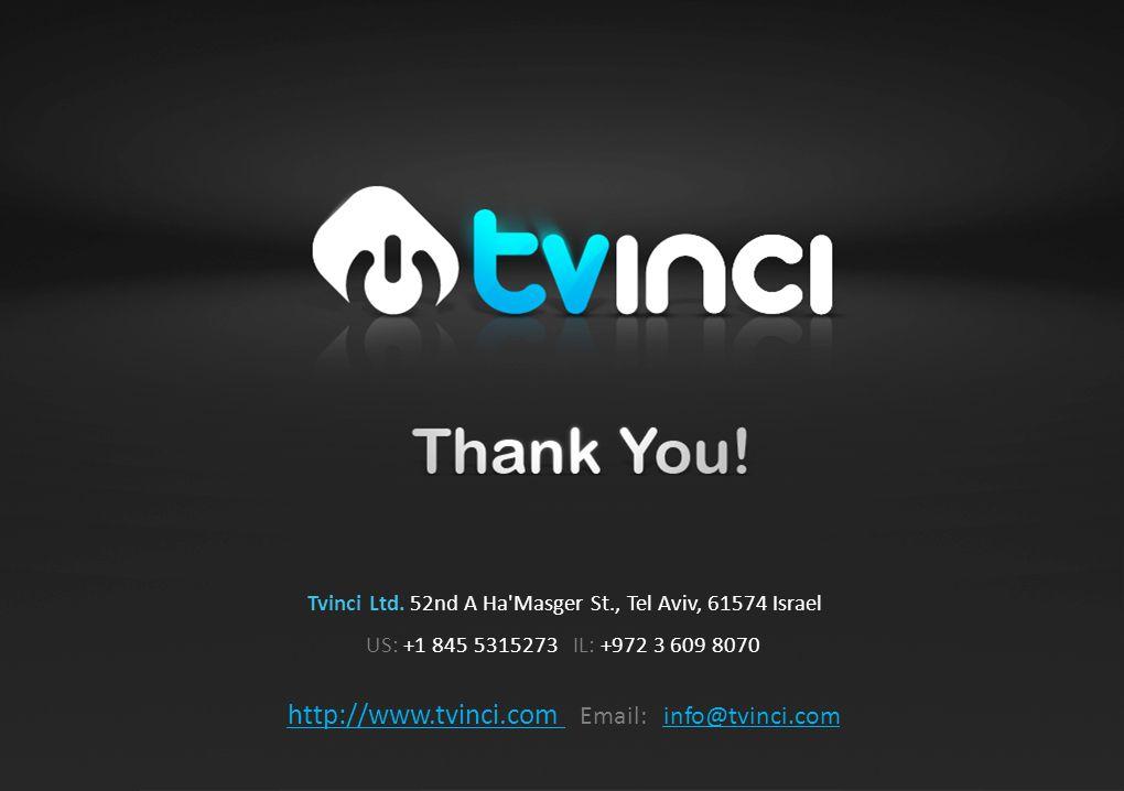 Tvinci Ltd. 52nd A Ha Masger St., Tel Aviv, 61574 Israel