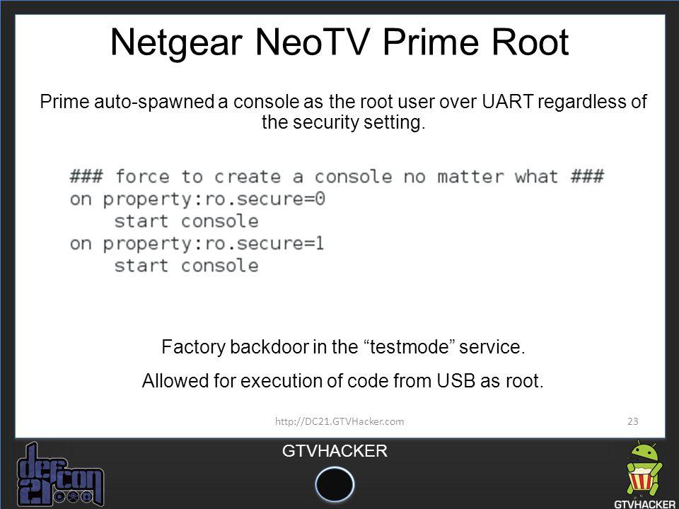 Netgear NeoTV Prime Root