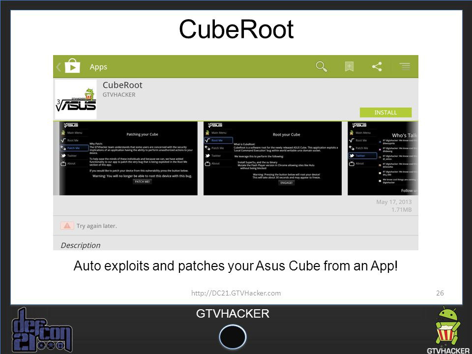 Auto exploits and patches your Asus Cube from an App!