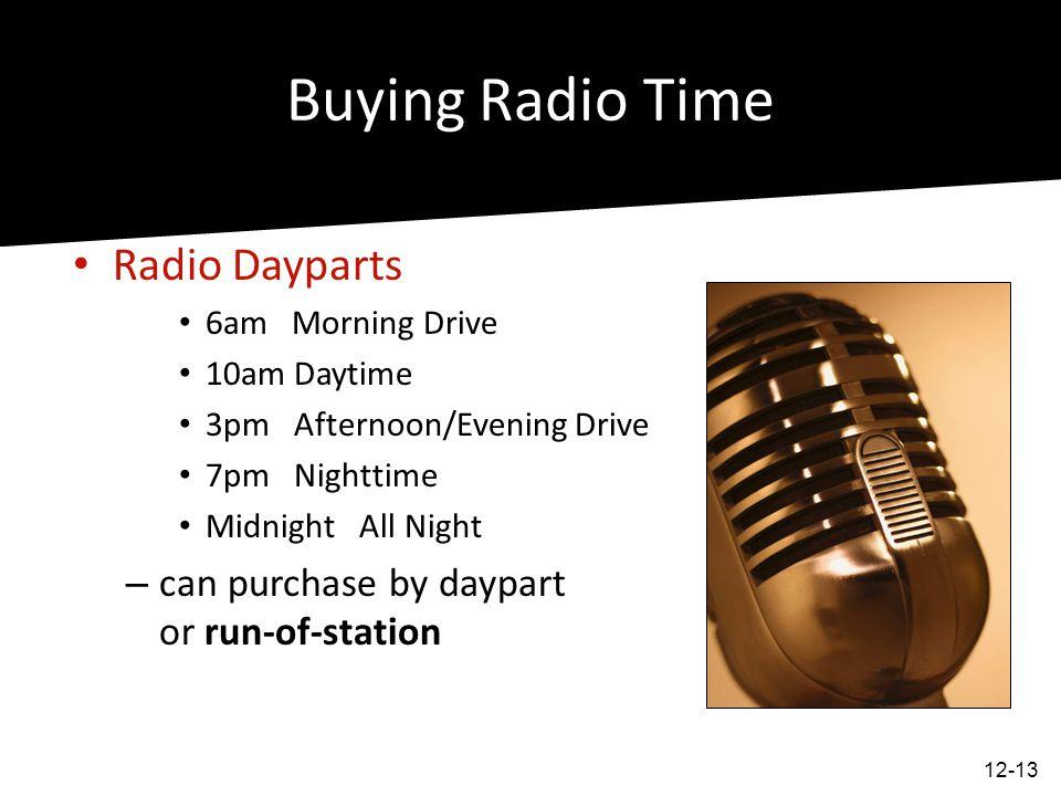 Buying Radio Time Radio Dayparts