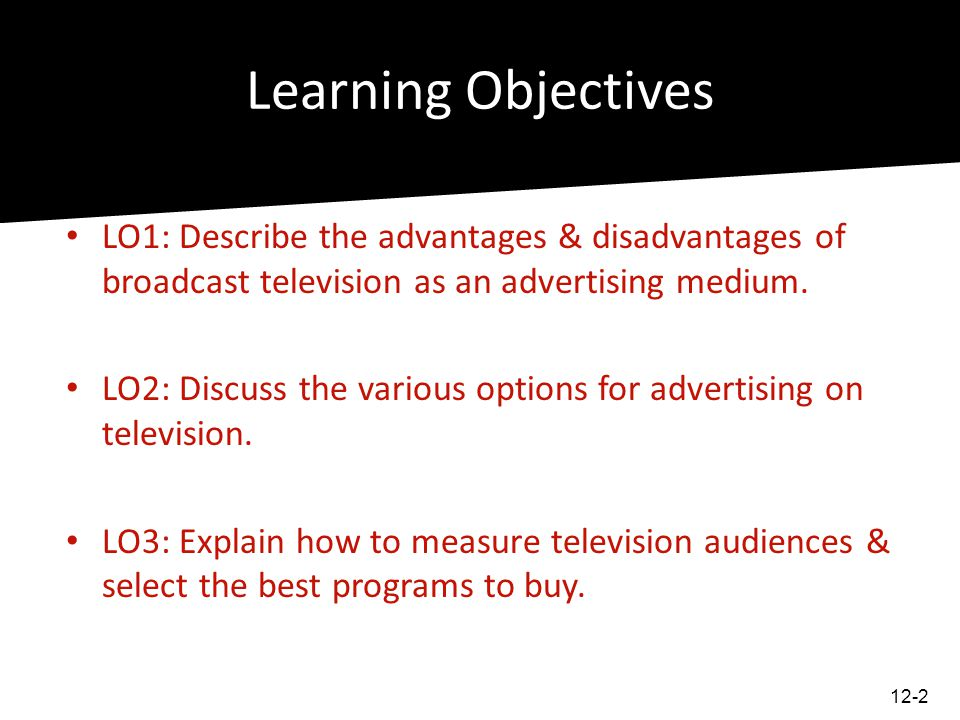 Learning Objectives LO1: Describe the advantages & disadvantages of broadcast television as an advertising medium.