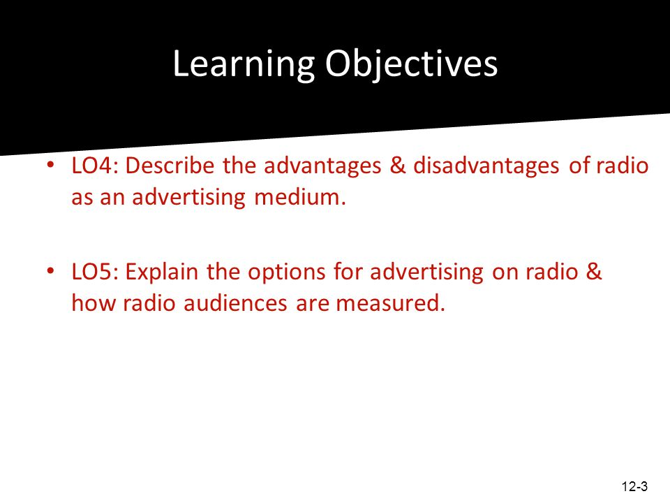 Learning Objectives LO4: Describe the advantages & disadvantages of radio as an advertising medium.