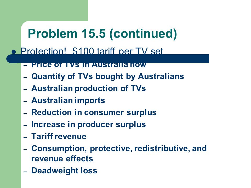 Problem 15.5 (continued) Protection! $100 tariff per TV set