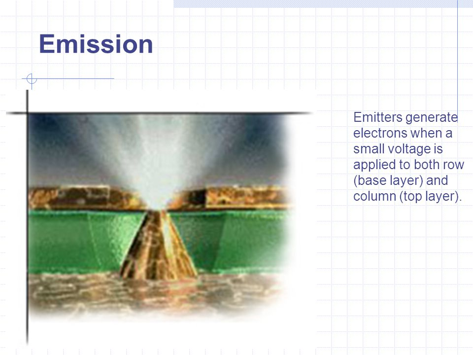 Emission Emitters generate electrons when a small voltage is applied to both row (base layer) and column (top layer).