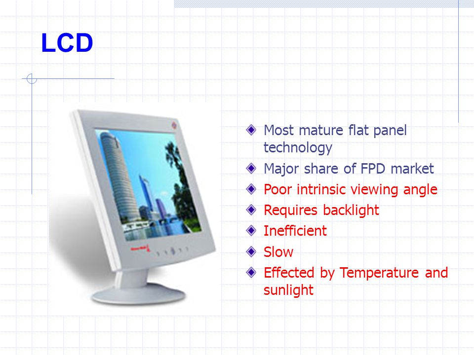 LCD Most mature flat panel technology Major share of FPD market