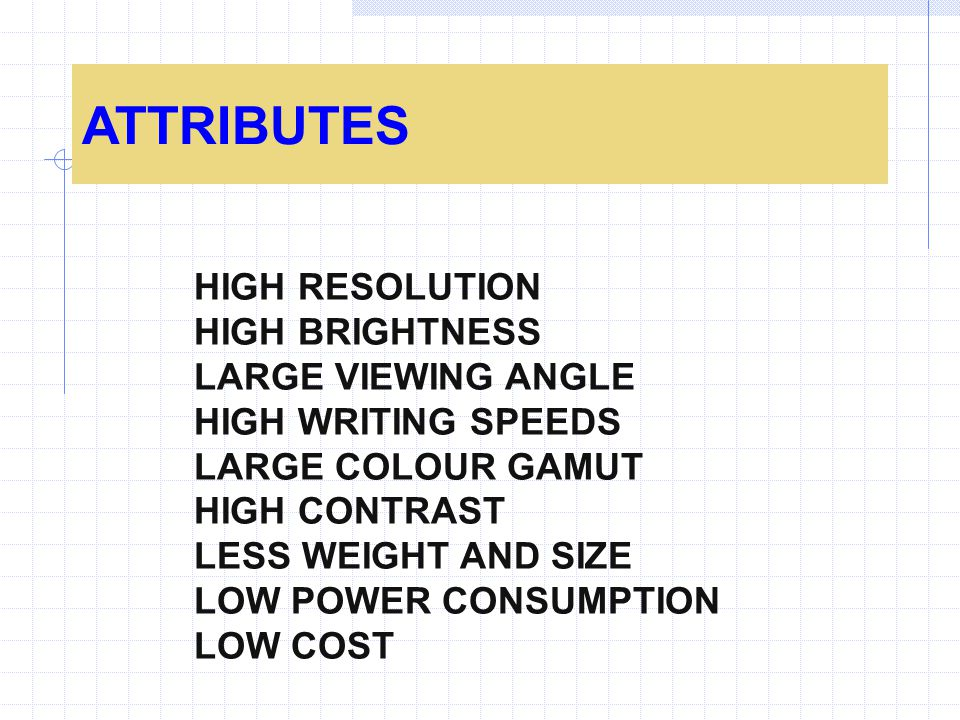 ATTRIBUTES HIGH RESOLUTION HIGH BRIGHTNESS LARGE VIEWING ANGLE