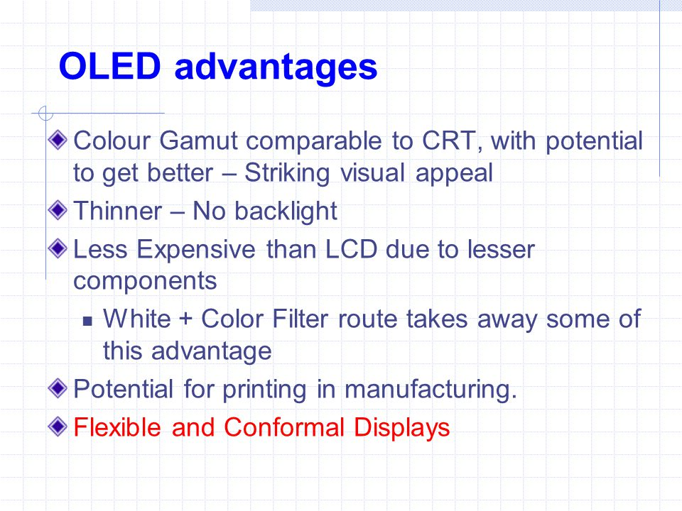 OLED advantages Colour Gamut comparable to CRT, with potential to get better – Striking visual appeal.