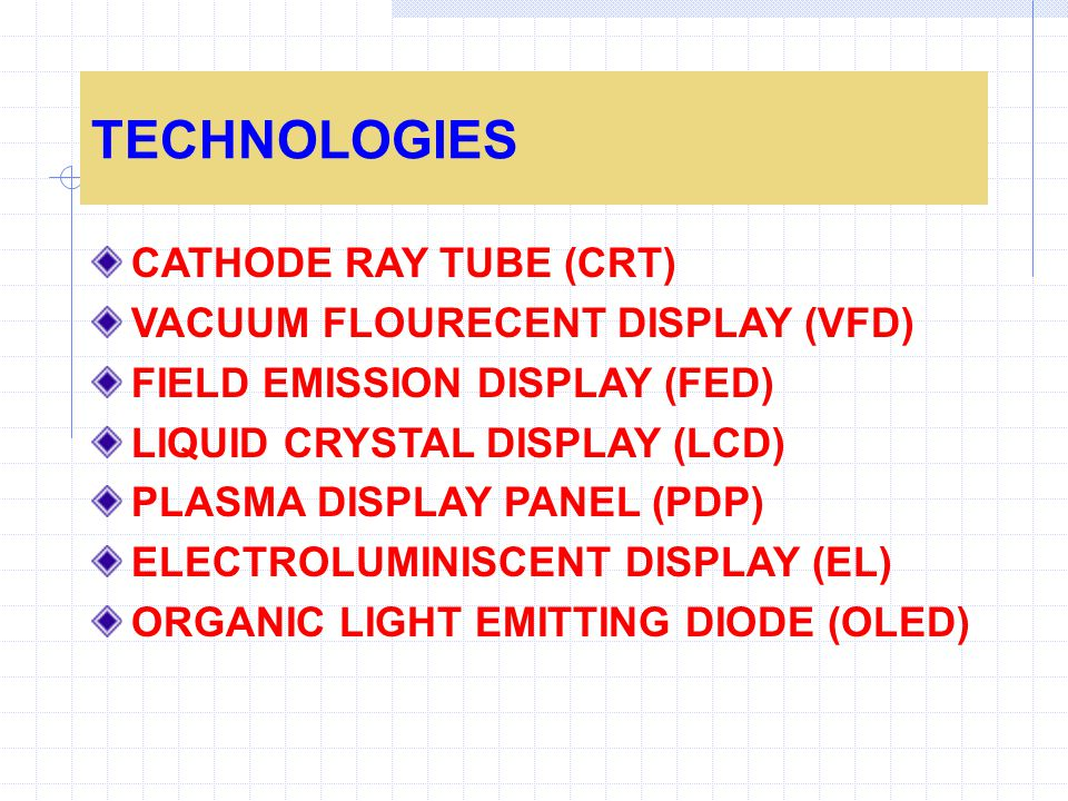 TECHNOLOGIES CATHODE RAY TUBE (CRT) VACUUM FLOURECENT DISPLAY (VFD)