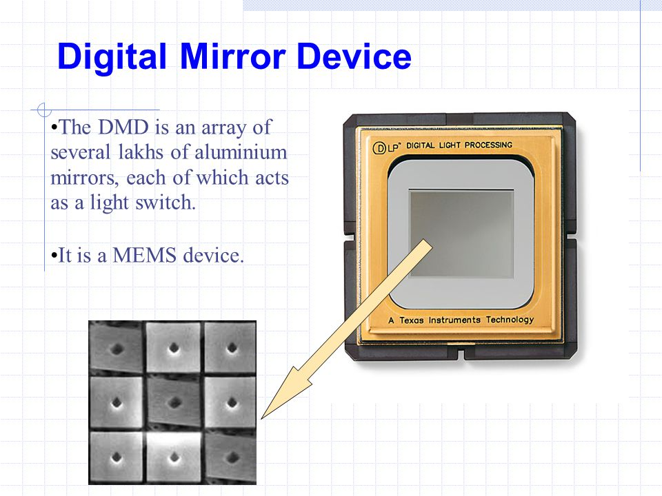 Digital Mirror Device The DMD is an array of several lakhs of aluminium mirrors, each of which acts as a light switch.