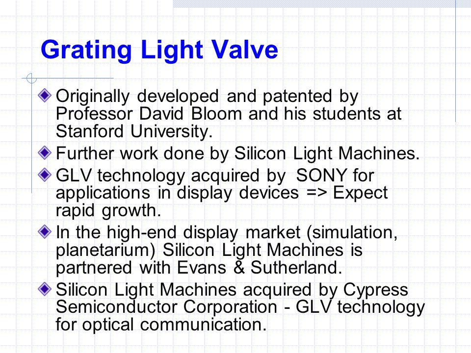 Grating Light Valve Originally developed and patented by Professor David Bloom and his students at Stanford University.