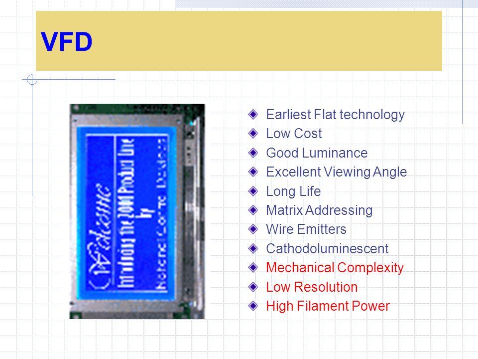 VFD Earliest Flat technology Low Cost Good Luminance