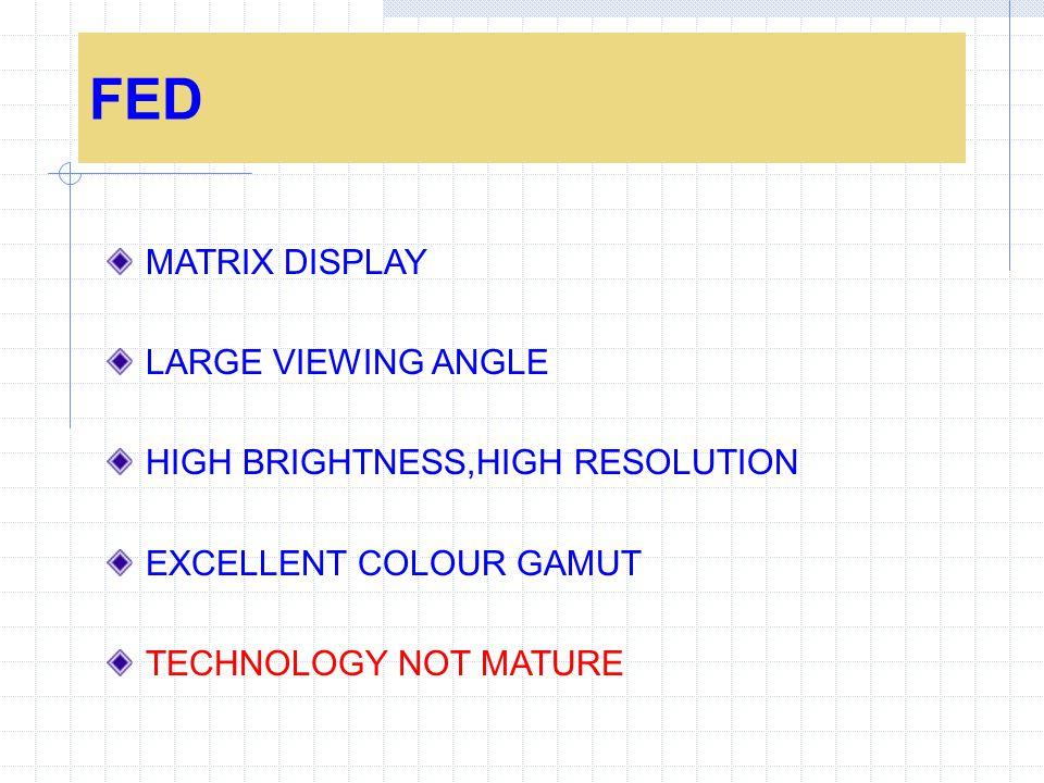 FED MATRIX DISPLAY LARGE VIEWING ANGLE HIGH BRIGHTNESS,HIGH RESOLUTION