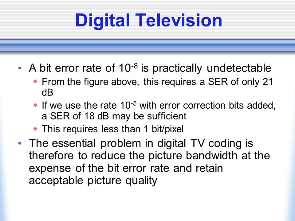 Digital Television A bit error rate of 10-8 is practically undetectable. From the figure above, this requires a SER of only 21 dB.