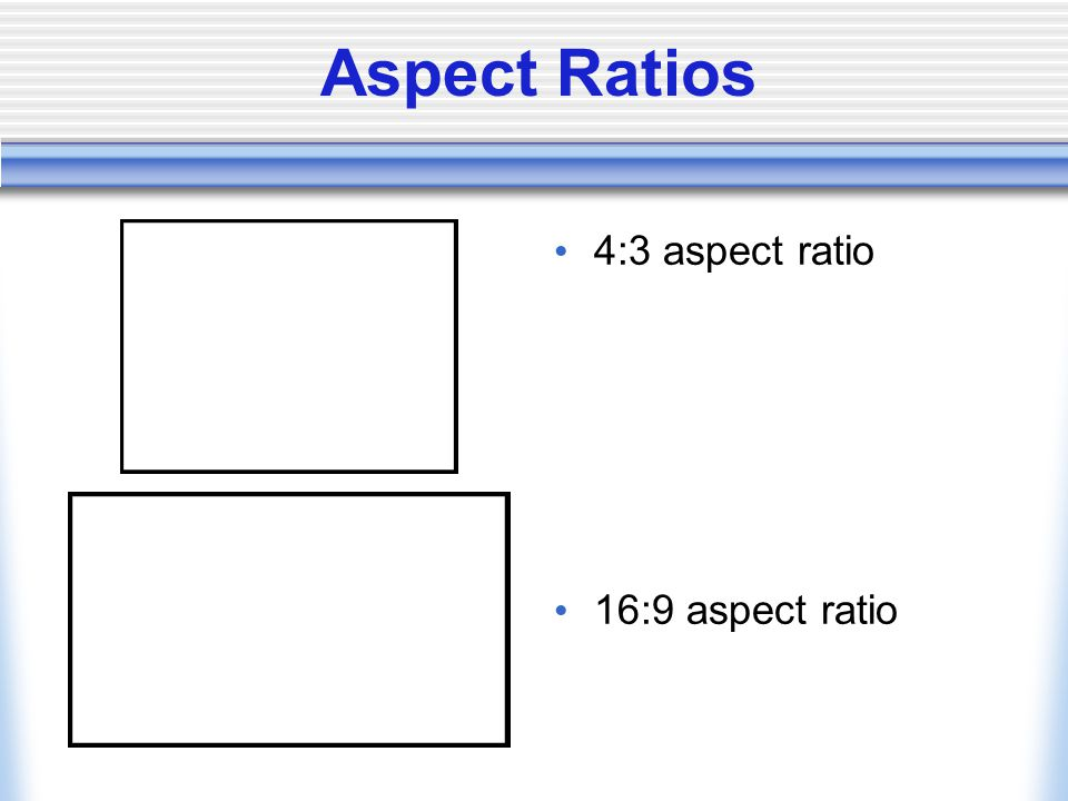 Aspect Ratios 4:3 aspect ratio 16:9 aspect ratio