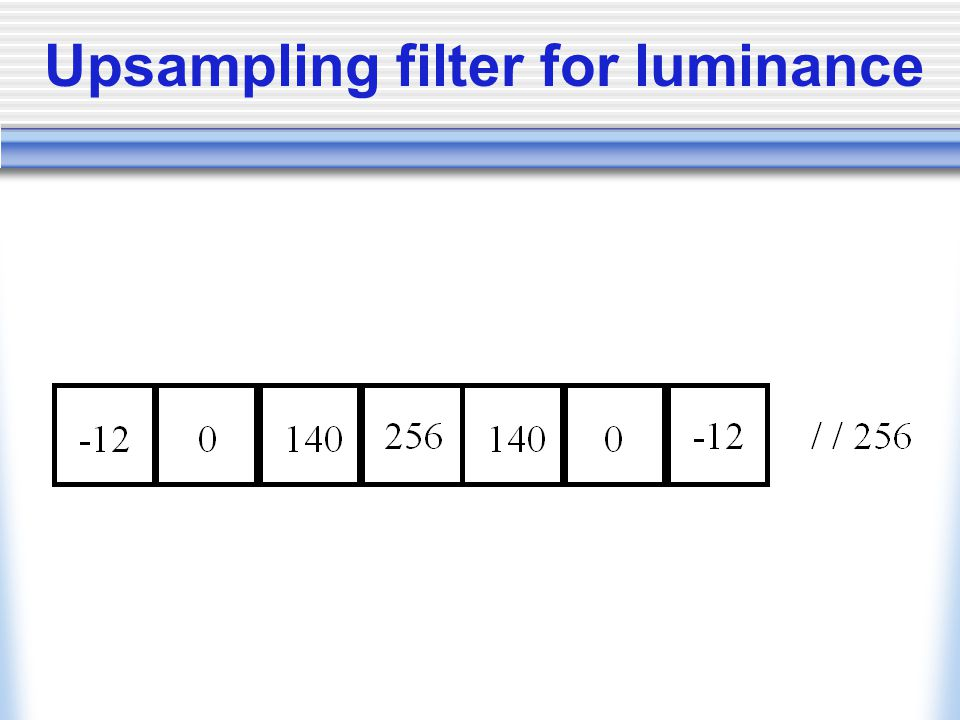 Upsampling filter for luminance