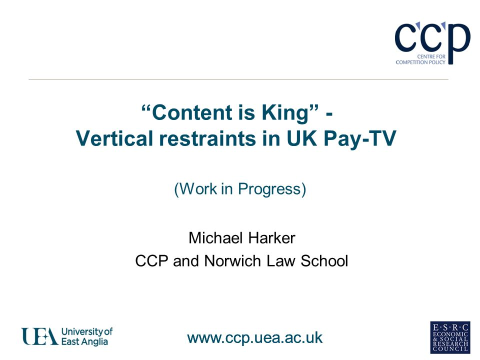 Content is King - Vertical restraints in UK Pay-TV
