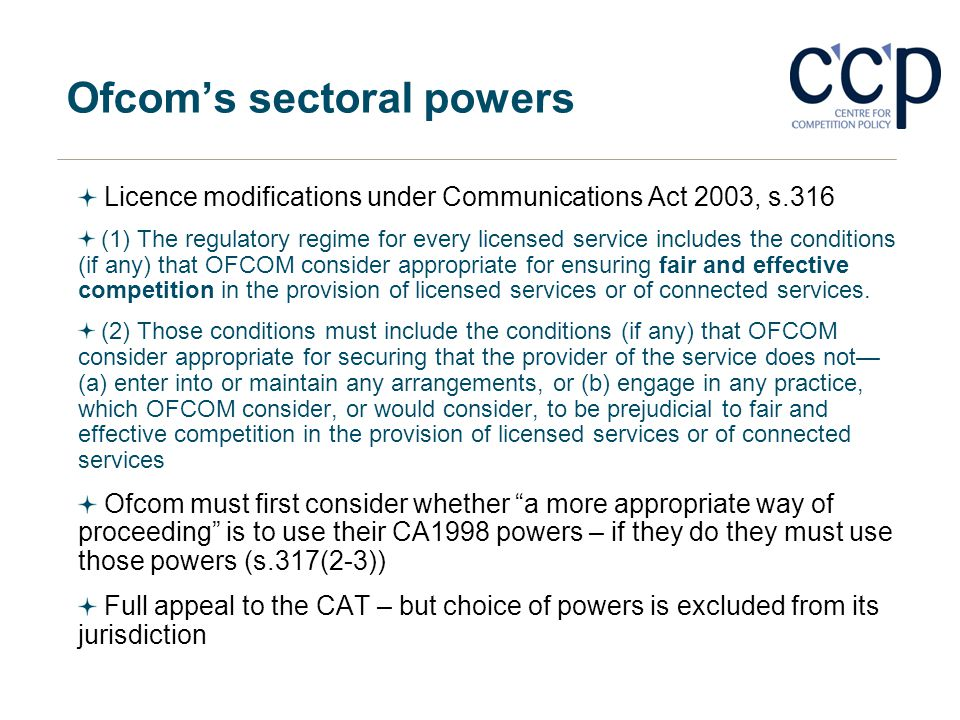 Ofcom's sectoral powers