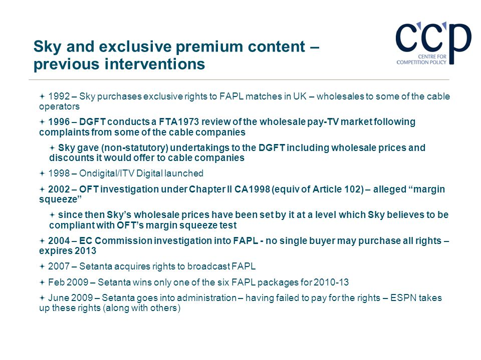 Sky and exclusive premium content – previous interventions