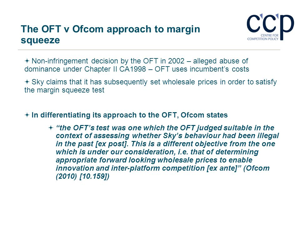 The OFT v Ofcom approach to margin squeeze