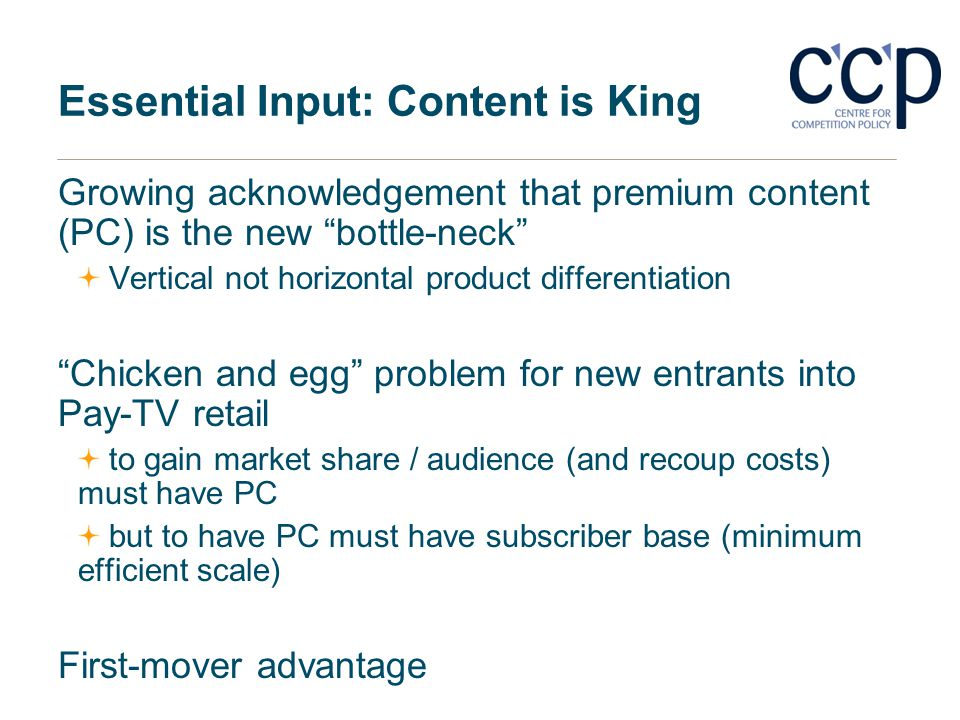Essential Input: Content is King