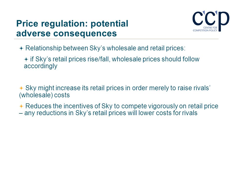 Price regulation: potential adverse consequences
