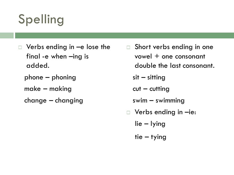 Spelling Verbs ending in –e lose the final -e when –ing is added.