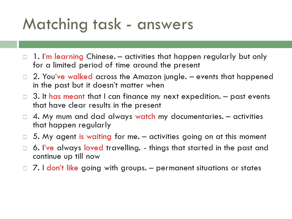Matching task - answers