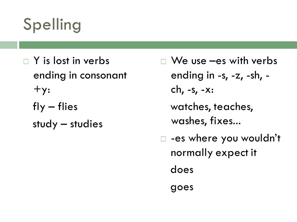 Spelling Y is lost in verbs ending in consonant +y: fly – flies