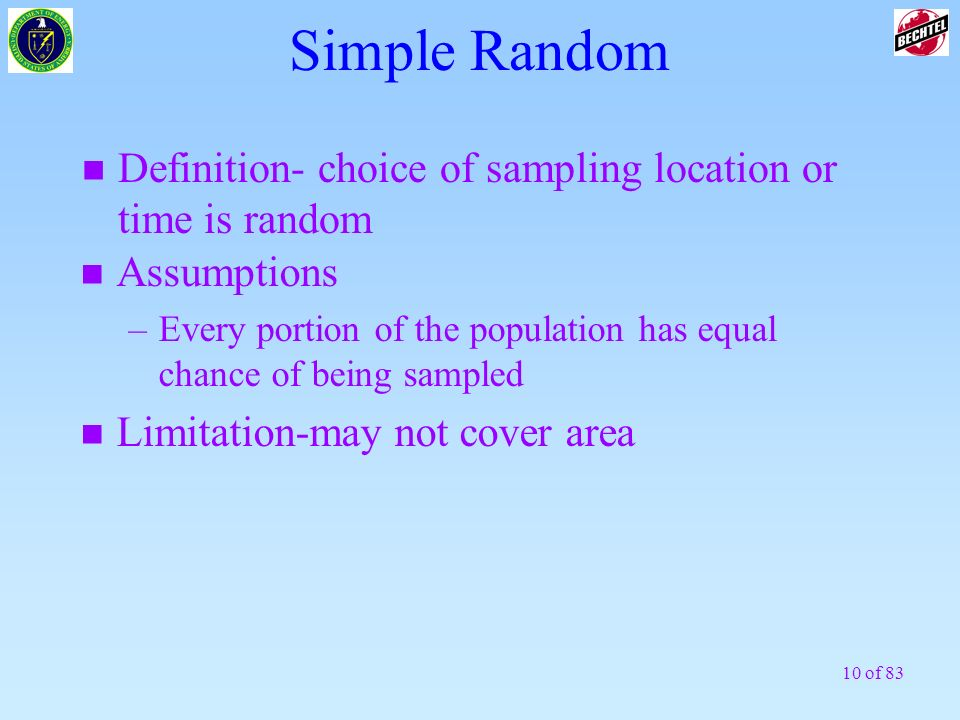 Simple RandomDefinition- choice of sampling location or time is random. Assumptions.