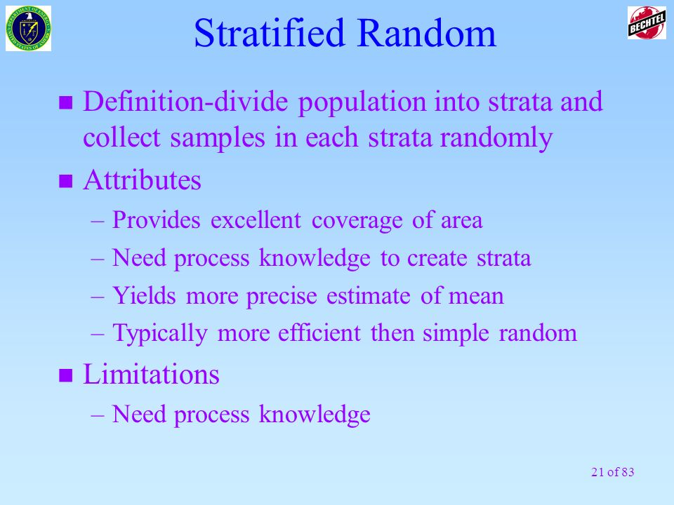 Stratified RandomDefinition-divide population into strata and collect samples in each strata randomly.