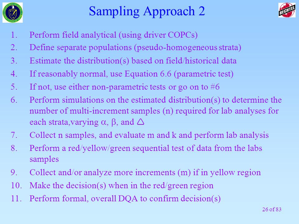 Sampling Approach 2 1. Perform field analytical (using driver COPCs)