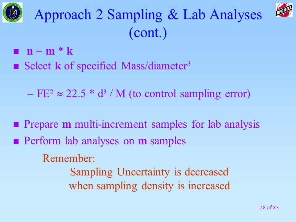 Approach 2 Sampling & Lab Analyses (cont.)