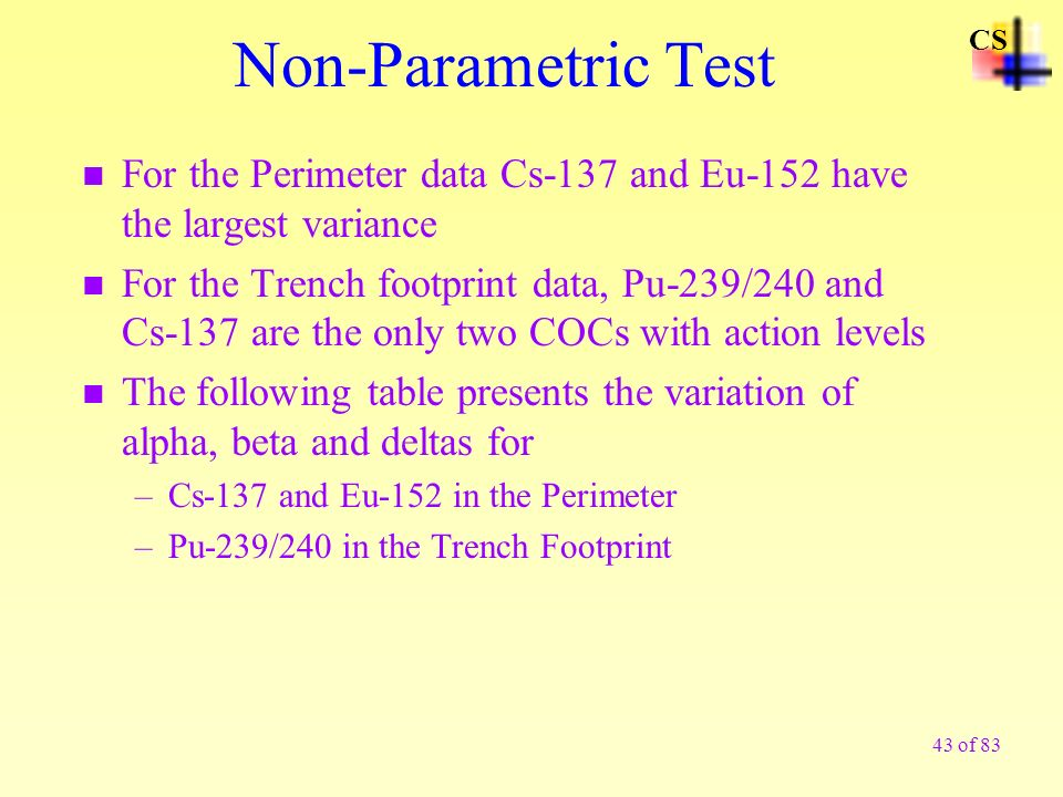 Non-Parametric Test CS. For the Perimeter data Cs-137 and Eu-152 have the largest variance.