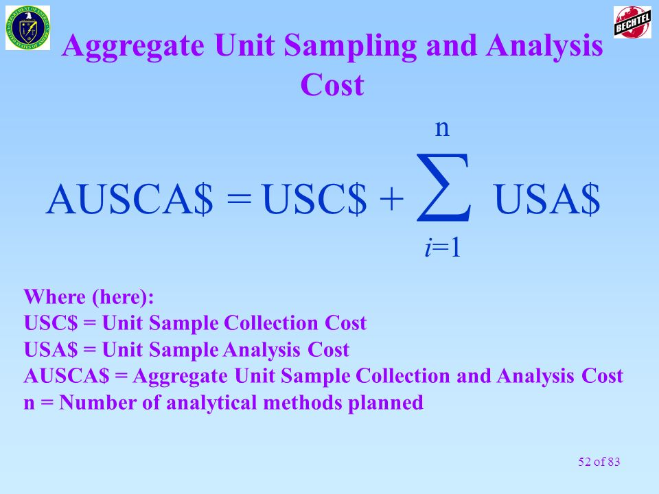 Aggregate Unit Sampling and Analysis Cost