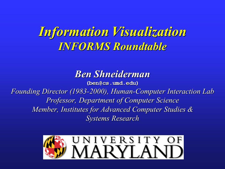 Information Visualization INFORMS Roundtable Ben Shneiderman (ben@cs
