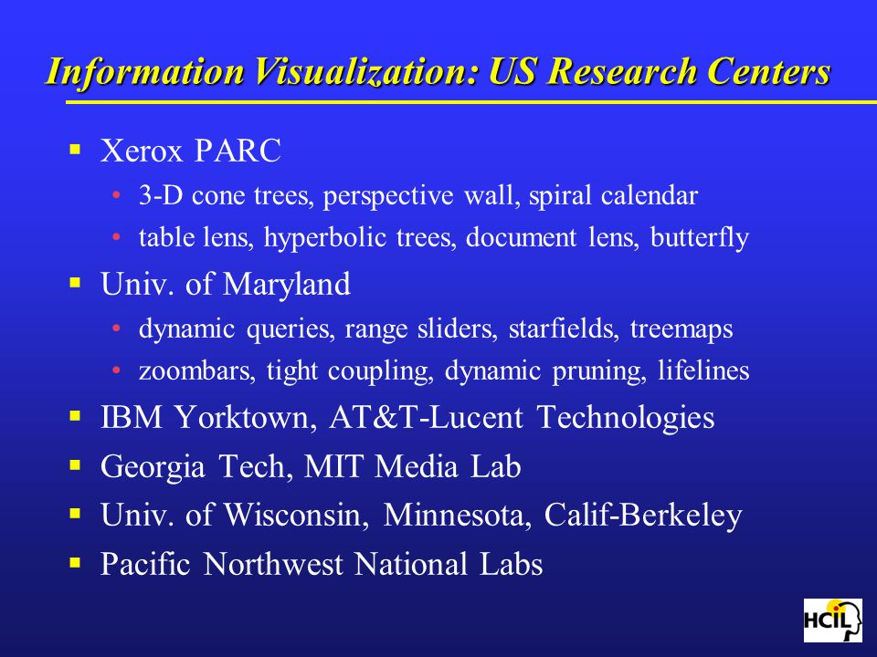 Information Visualization: US Research Centers