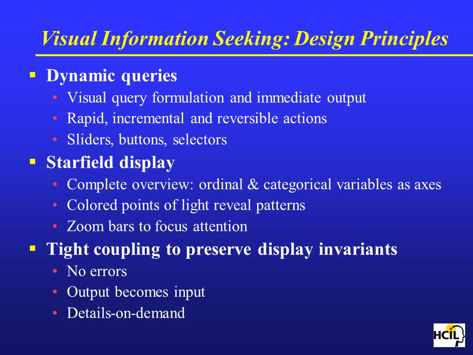 Visual Information Seeking: Design Principles