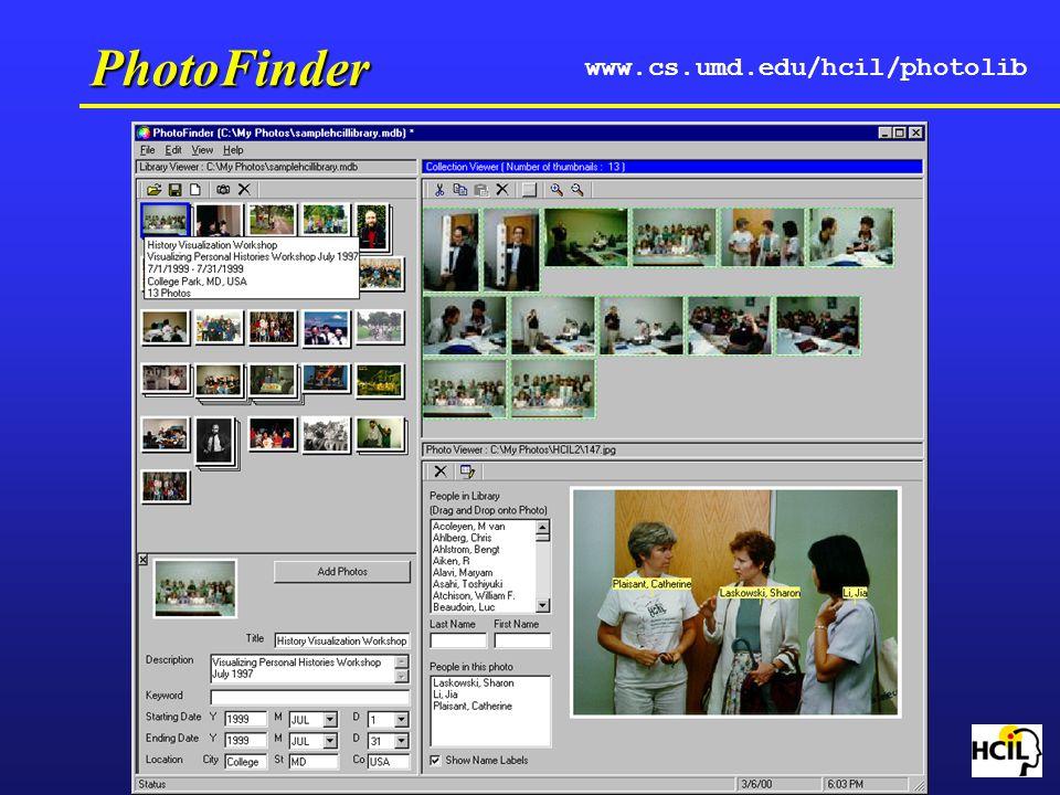 PhotoFinder www.cs.umd.edu/hcil/photolib